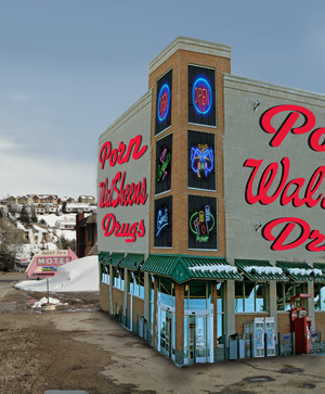 In an attempt to help boost the town's struggling economy, WalSheens was inexplicably approved by City Council. Steamboaters soon will have 24-hour access to drive-thru pharmaceuticals, stocking stuffers and pornography.