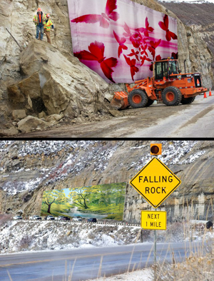 CDOT awarded a local Steamboat Springs artist $50,000 to create a gigantic mural covering a rockslide-prone area to make people feel better about driving through the deadly canyon. Potential murals have been mocked up, showing butterflies or a pleasant, cliff-less meadow.