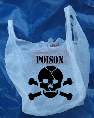 A new proposal from Yampa Valley Really Better Recycle or Else was passed by City Council last night, forcing grocery stores to add mild poisons to their plastic bags to discourage their use.