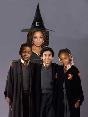 Oprah Winfrey's new book, Oprah's Gary Kotter and the Deadly Projects, details the life and trials of a young boy who must learn the art of voodoo, with the help of his two best friends, to defeat the evil Hag Rowlingmort. Any resemblance to the Harry Potter series is strictly a coincidence, notes Winfrey.