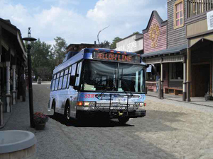 Steamboat's Yellow Bus Line stops at one of its more-popular destinations.