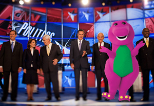 Barney the Purple Dinosaur was the latest entry into the GOP presidential race. Predictably, he's now the obvious frontrunner, with voters respecting his superior intellect and debate prowess, compared to his competition.
