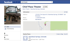 The Chief's Facebook page has a few less Friends on it now, as the aging theater unfriended the core group formerly known as Friends of The Chief, which was hoping to renovate the seemingly slighted movie theater into a multipurpose entertainment venue slated to open in downtown Steamboat Springs in the year 2038.