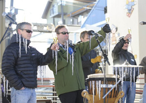 Steamboat officials celebrated the area's new outdoor stage being named North America's premiere sub-zero performance location. Fortunately, the champagne was properly chilled just by setting it onstage for a few minutes.