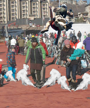"Dozens of Steamboat skiers and snowboarders received a ""warm welcome"" from the new heated promenade, which was inadvertently heated to 555 degrees Fahrenheit, searing their boots to the paver stones. The frightened tourists were airlifted from danger, with only a few, mostly snowboarders, reporting third-degree burns to their tootsies."