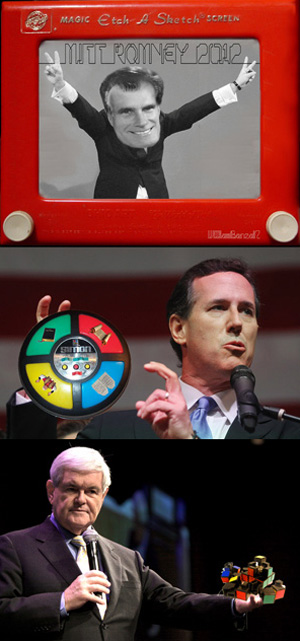"Hasbeen is releasing a full line of Republican Candidate toys, including the already famous Mitt Romney Etch-a-Sketch, the Rick Santorum God Simon and the Newt Gingrich Rubik's Cube that's easier to disassemble and ""cheat on."""