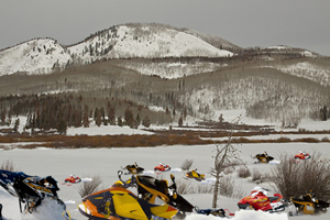An incredibly rare photograph was taken near Steamboat Lake of the world's last remaining herd of wild snowmobiles.
