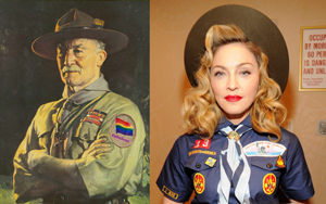 "Until the new Armani-based Boy Scout uniform is unveiled in Paris later in 2013, gay scouts can choose to wear the new ""Fabulous"" Merit badge (left) or adopt a complete transgender look (right). Click on image to enlarge."
