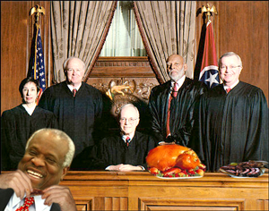 "Members of the Supreme Court (mostly not pictured) once again voted 5-4 to order ""American food"": barbecued pork ribs and baked beans. Dissenting suggestions of pizza and Chinese food were summarily rejected by the court's conservative branch as being ""too ethnic."""
